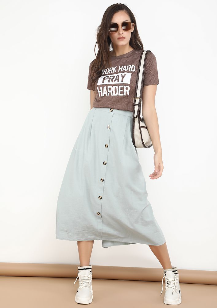 LIKE A FIELD OF TRENDS GREEN SKIRT