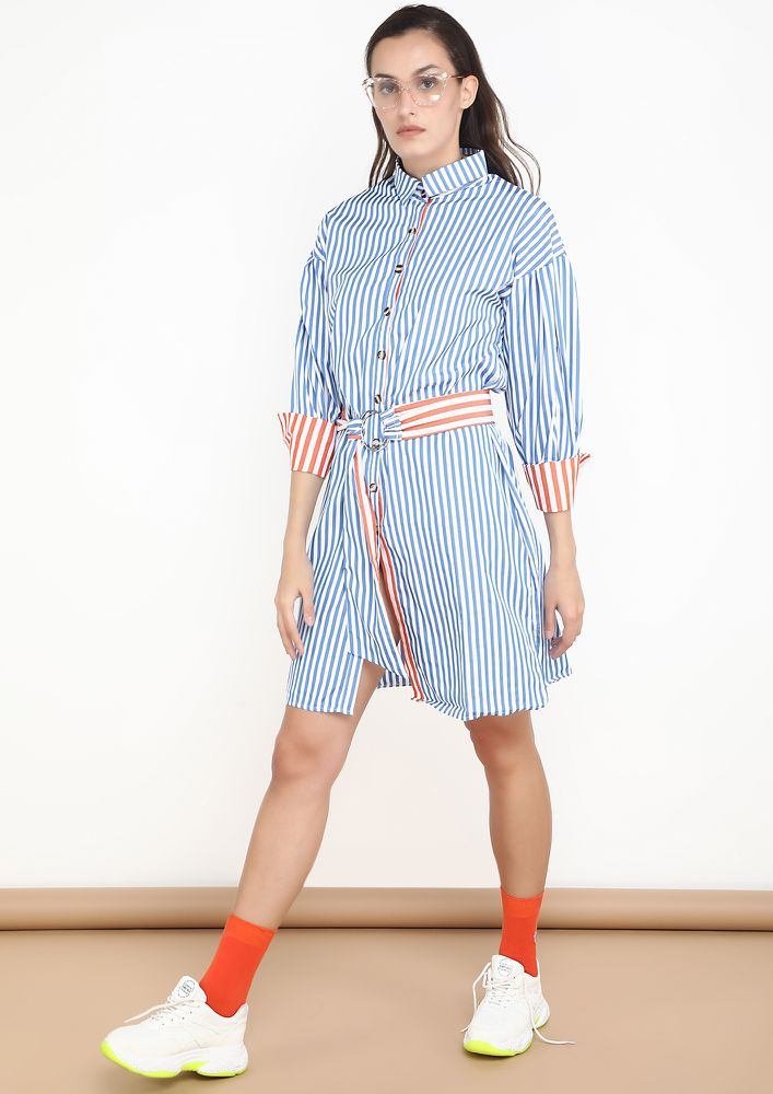 HAIR FLICK AND EVRYTHING CLICK BLUE STRIPED DRESS