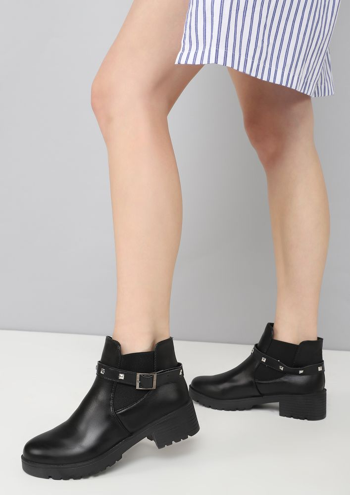 GOTTA STOMP AROUND BLACK ANKLE BOOTS