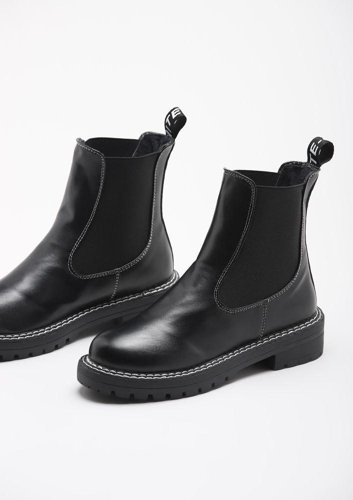 HIT THE FLOOR BLACK CHELSEA BOOTS