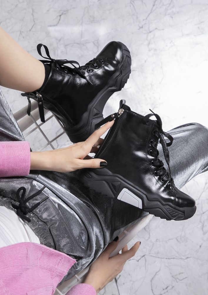 THE NEXT IT GIRL BLACK COMBAT BOOTS