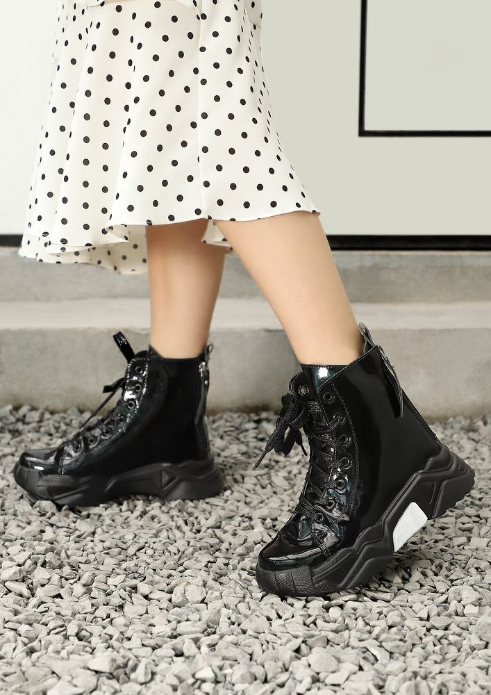THE NEXT IT GIRL PATENT BLACK COMBAT BOOTS