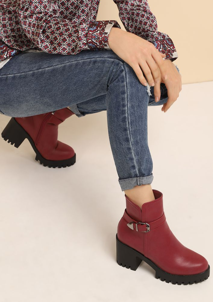 HOLY CHIC RED ANKLE BOOTS