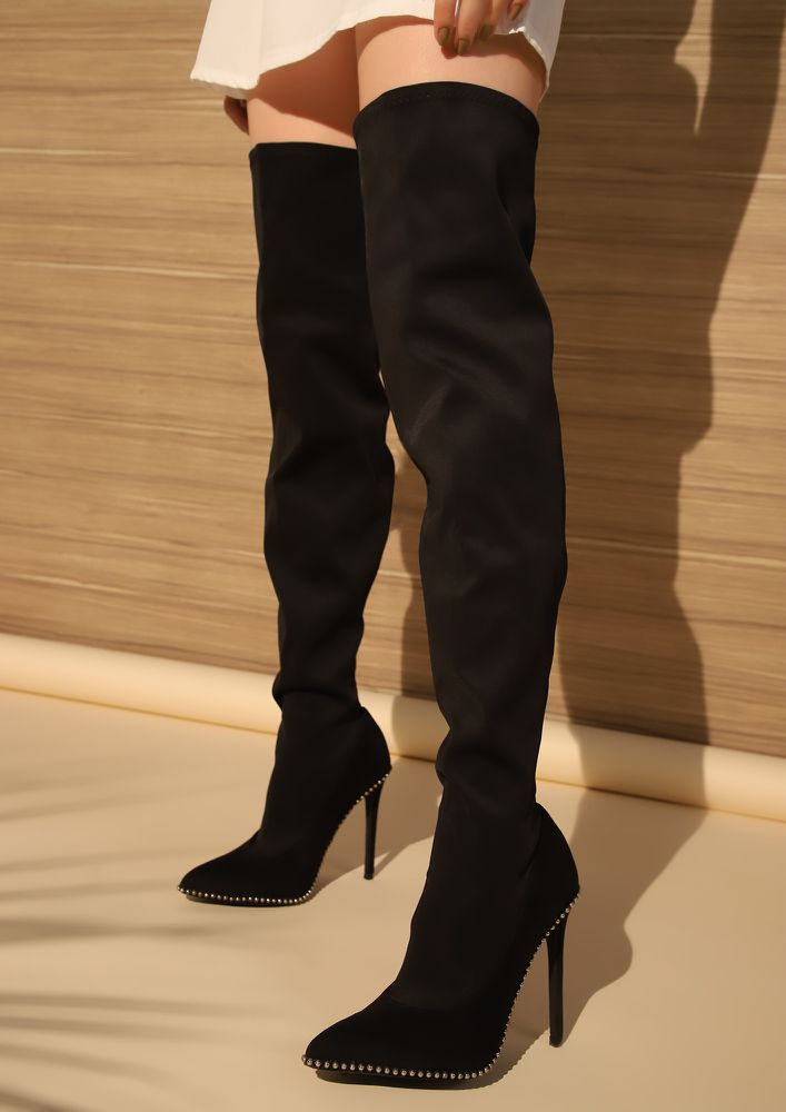 STILL I RISE BLACK SUEDE THIGH-HIGH SOCK BOOTS