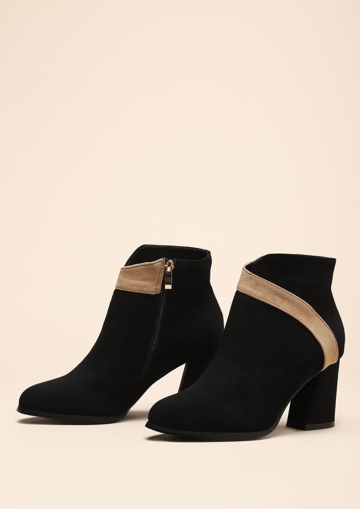 TWO-TONE IT DOWN BLACK ANKLE BOOTS