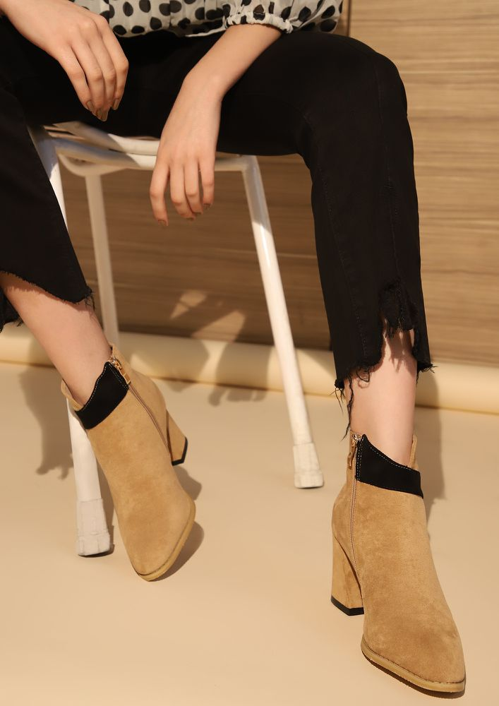 TWO-TONE IT DOWN APRICOT ANKLE BOOTS