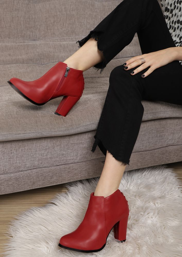 QUITE A HOTMESS RED ANKLE BOOTS
