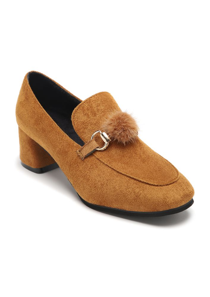 SMASUAL CHIC EARTH YELLOW HEELED LOAFERS