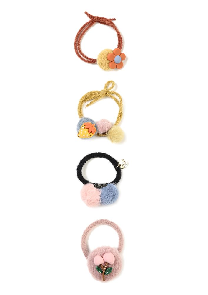 COLLECTING POMPOMS MULTICOLOR SET OF FOUR SCRUNCHIES