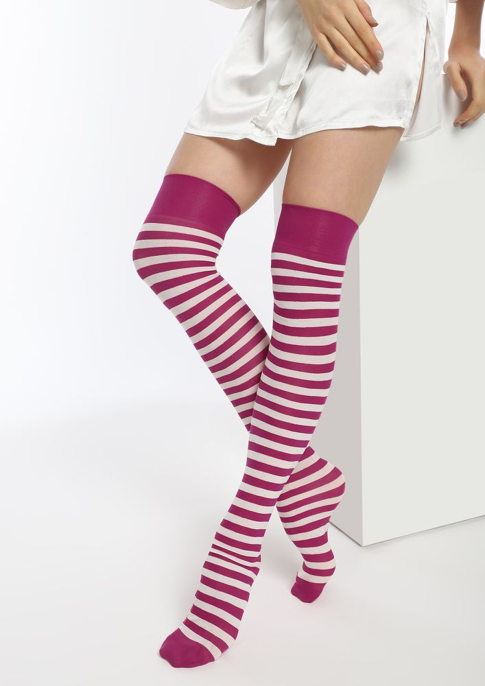STUCK BY CLASSICS RED STRIPED KNEE-HIGH SOCKS
