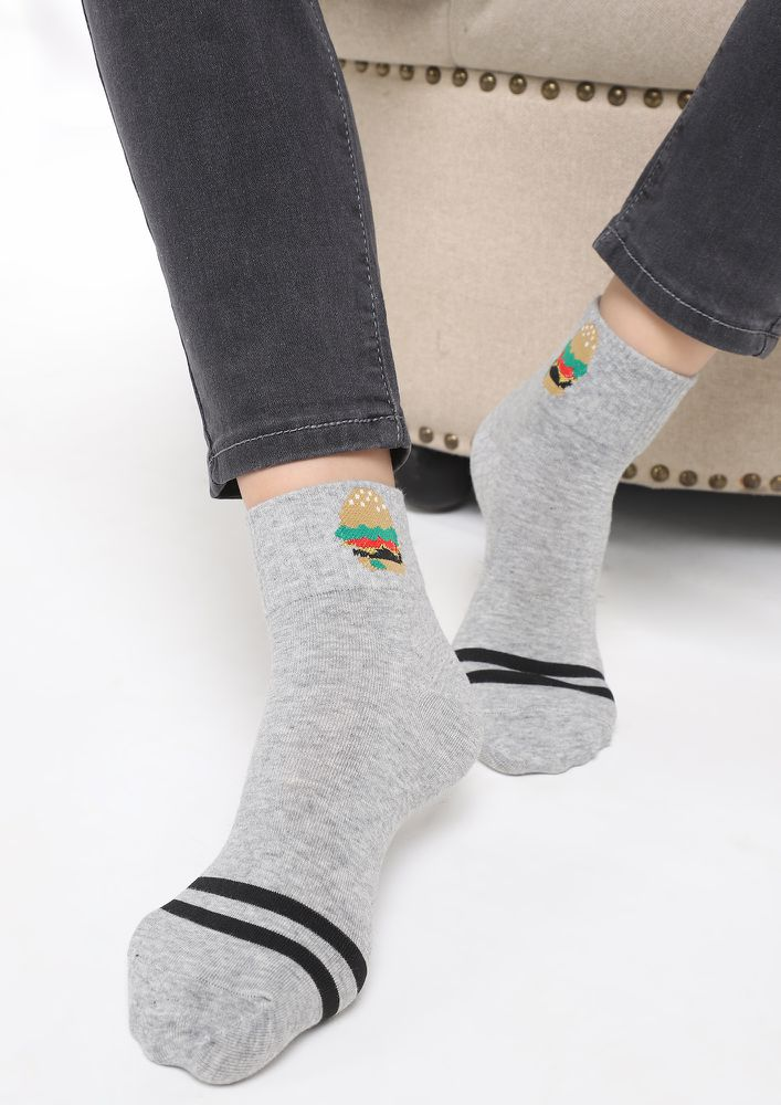 ALWAYS HUNGRY GREY SOCKS