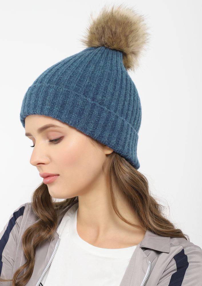 FURRY AND FUZZY NAVY BOBBLE HAT