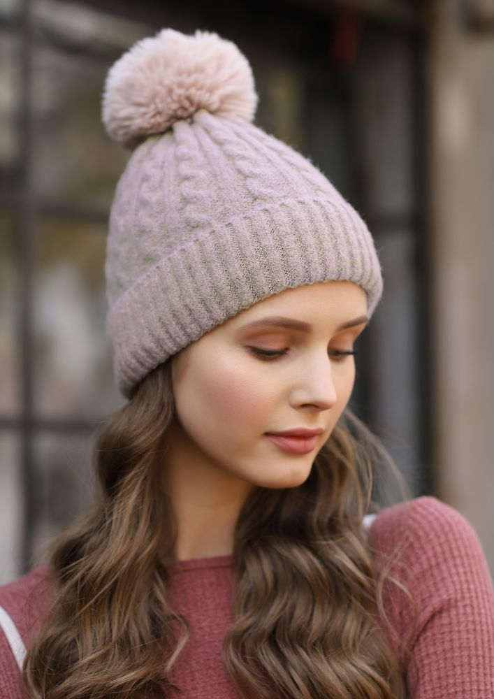 PRETTY KNITS AND FURS BEIGE BOBBLE HAT