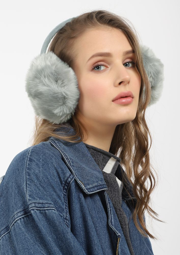 HAPPY WINTER VIBES GREY EARMUFFS