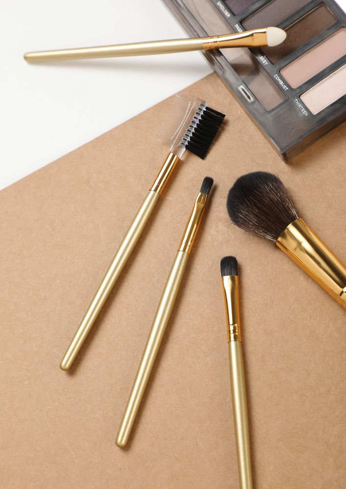 HAPPY LOVER GOLDEN MAKEUP BRUSHES -  SET OF 5