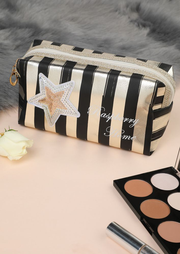 STAR AND STRIPE BLACK AND WHITE MAKE-UP POUCH