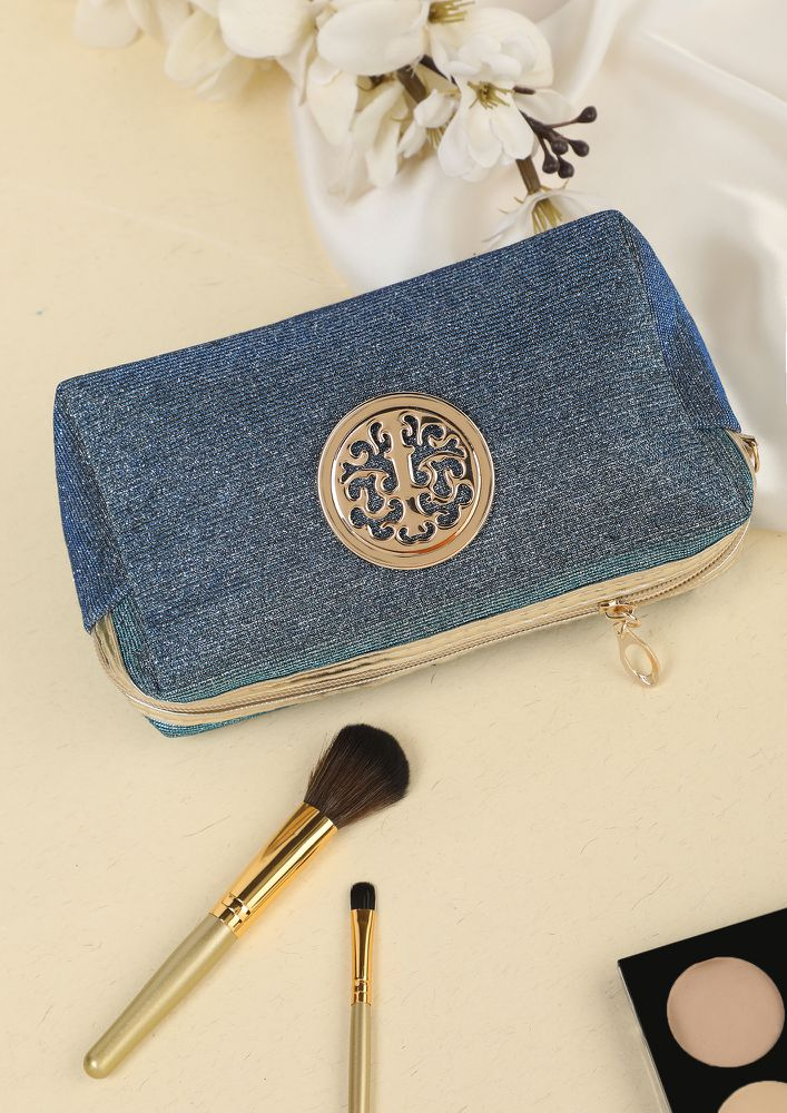 CENTER OF LOVE BLUE MAKE-UP POUCH