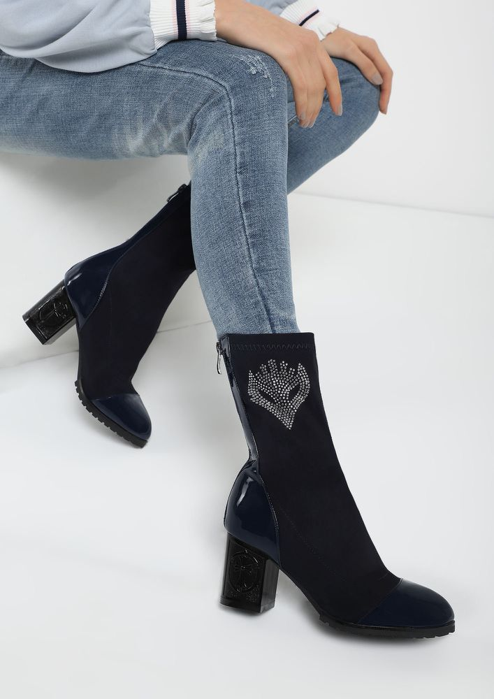 BEHIND THE MASK NAVY MID CALF BOOTS