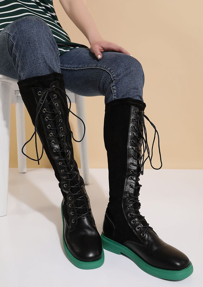 DRIVEN BY FIERCE GLAM GREEN GLADIATOR BOOTS