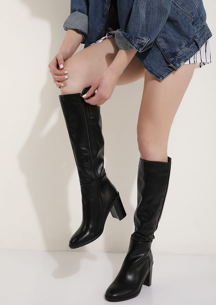 YOUR BOSS BABE MOMENT BLACK HEELED BOOTS