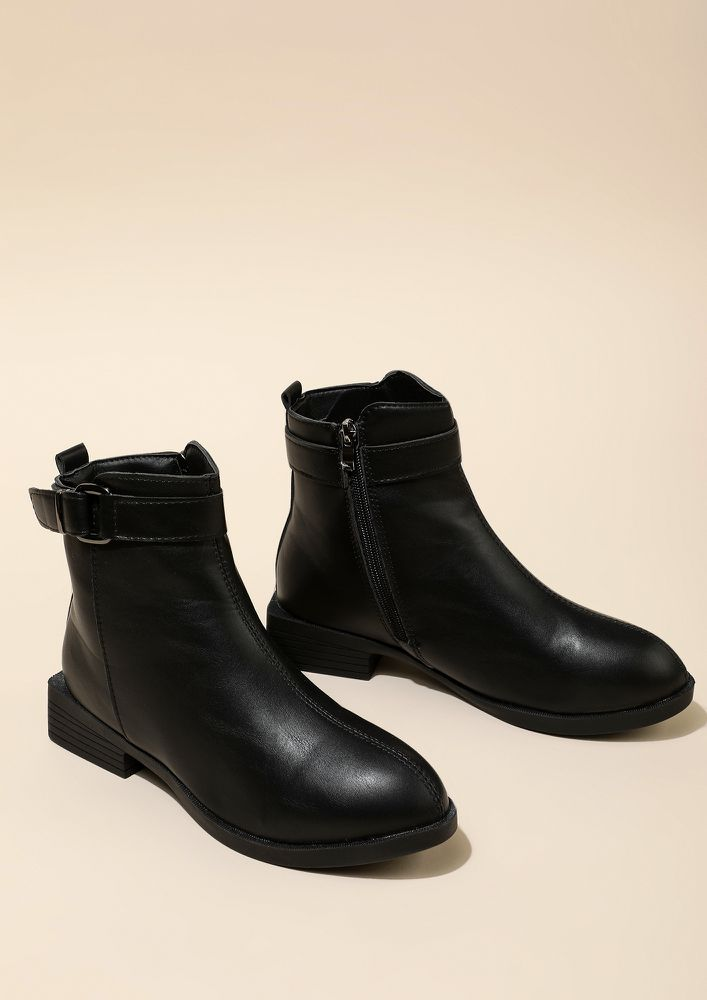 ZIP UP BUTTERCUP BLACK BOOTS