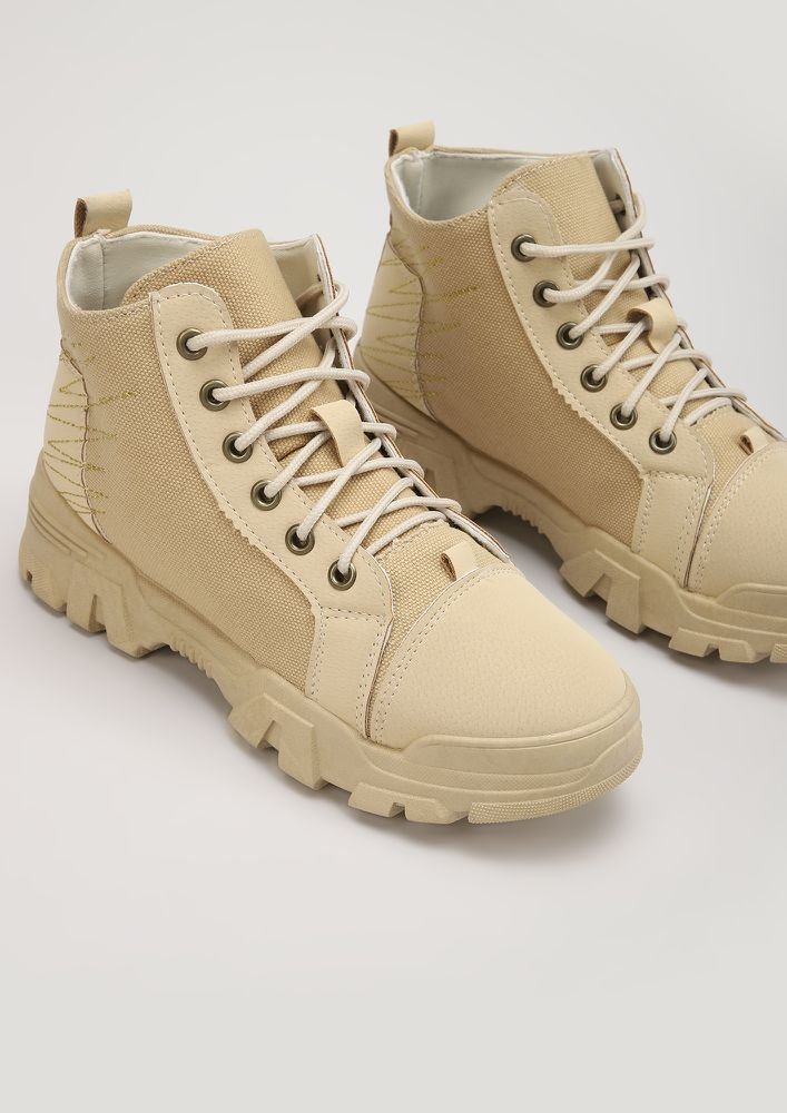 SNEAKER-BOOTS KINDA PERSON KHAKI CASUAL SHOES