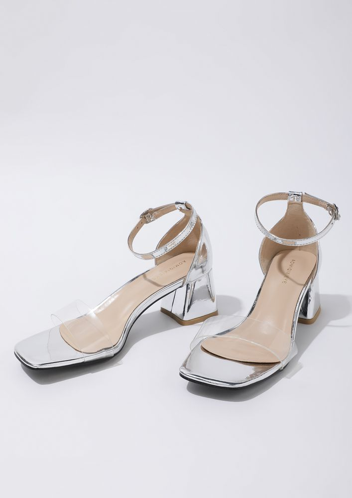 AS CLEAR AS DAY SILVER HEELED SANDALS