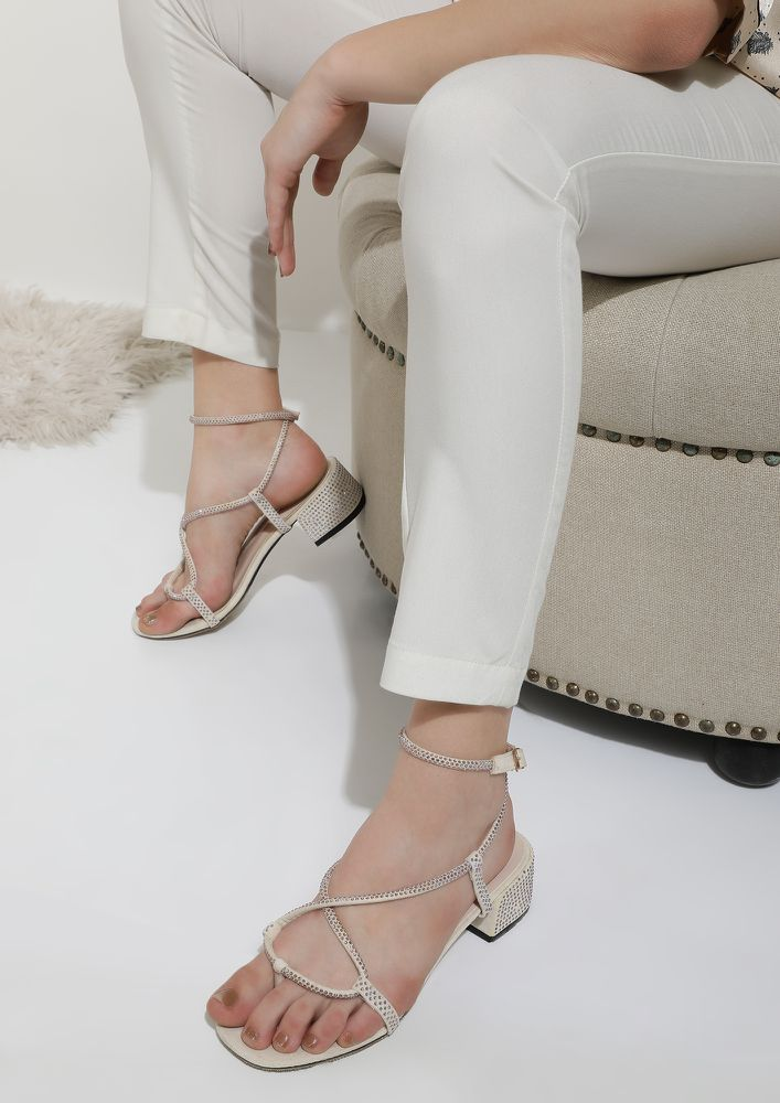ALL SET TO DAZZLE BEIGE HEELED SANDALS
