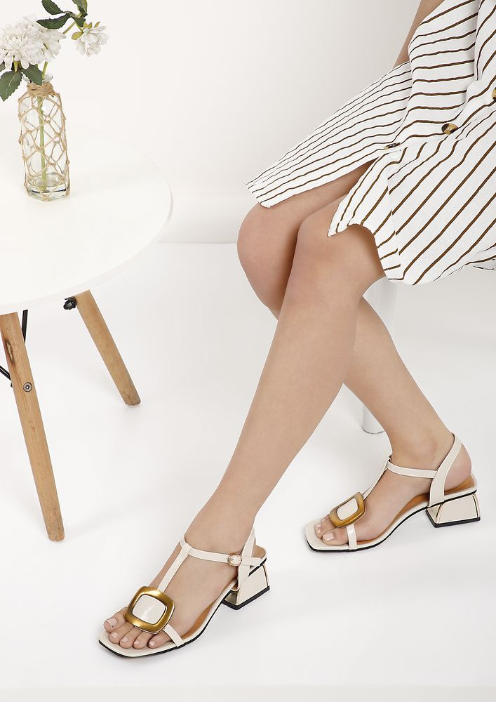 DON'T BLOCK MY WAY BEIGE HEELED SANDALS