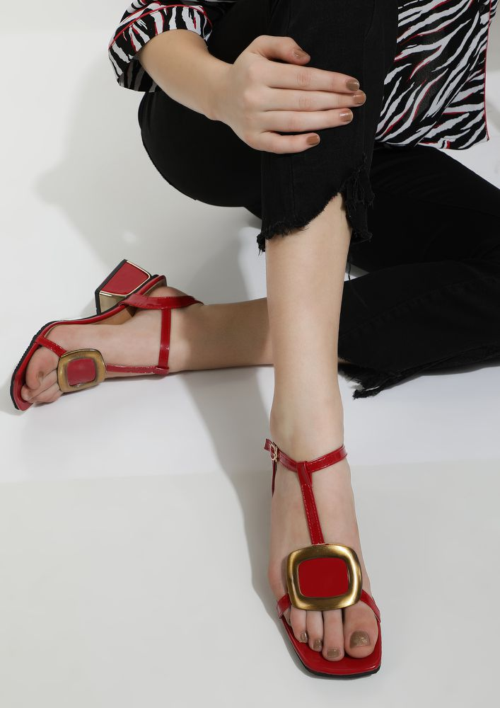 DON'T BLOCK MY WAY RED HEELED SANDALS