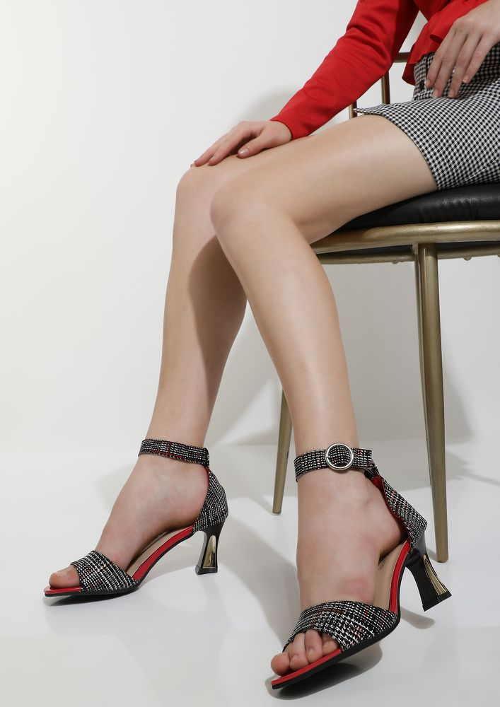 ABSTRACT LINES RED SPOOL HEELS