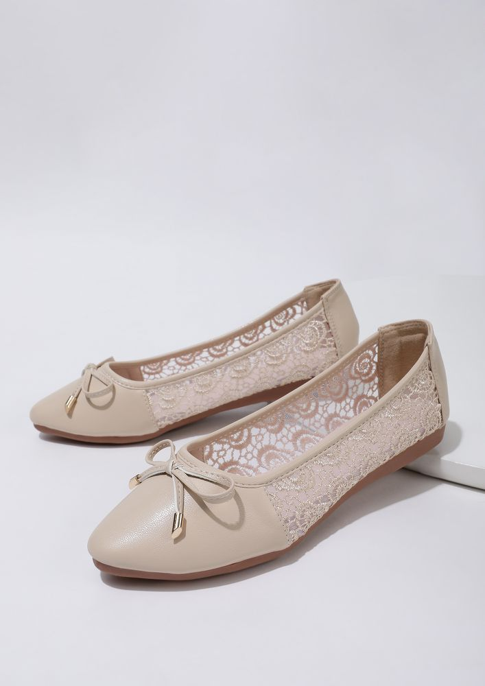 THE DELICATE DARLING BEIGE BALLET FLATS