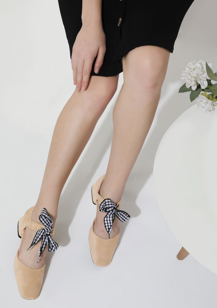 TIE ME KNOT BEIGE HEELED SHOES