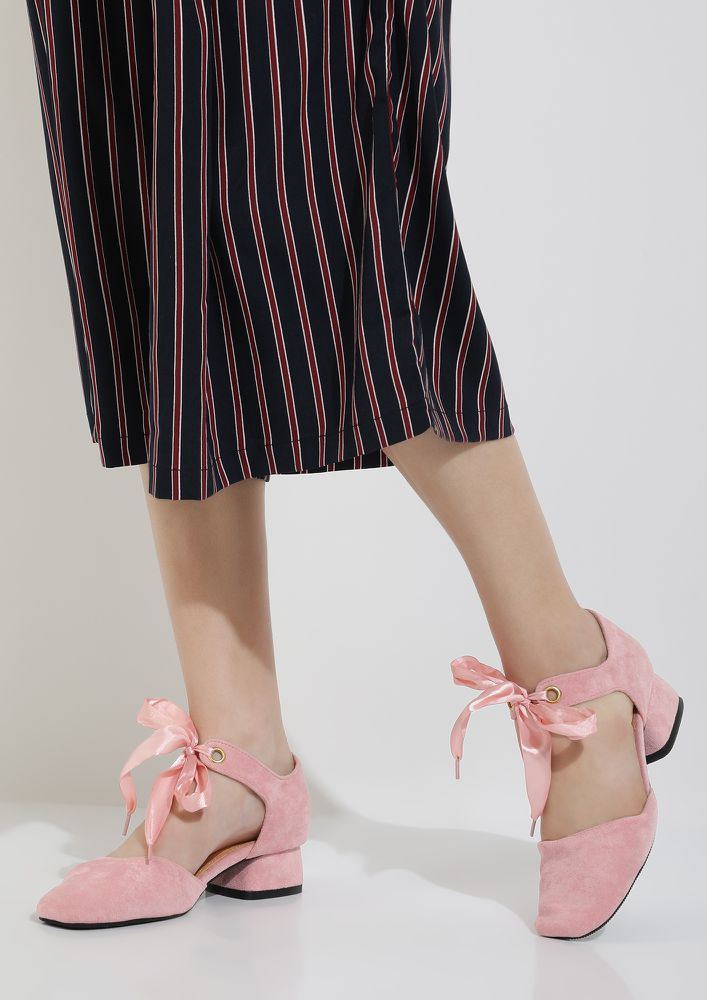 TIE ME KNOT PINK HEELED SHOES