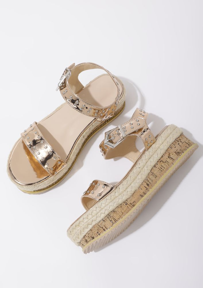 POST QUARANTINED CHILL GOLDEN HEELED SANDALS