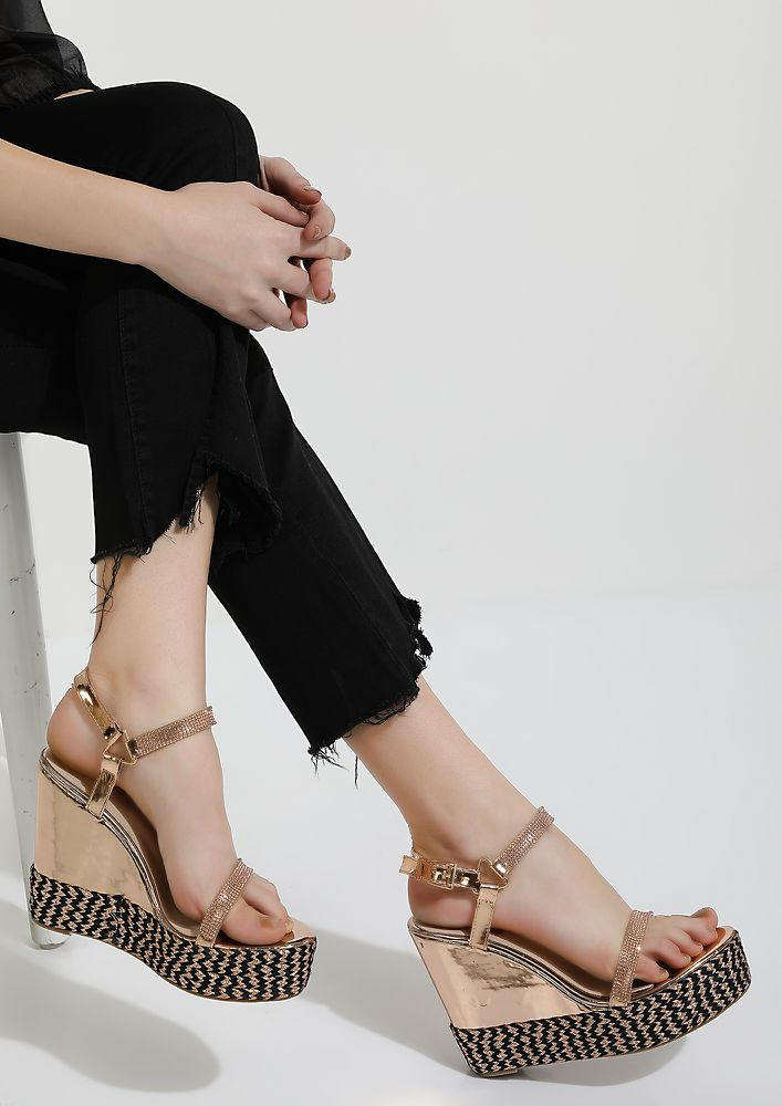 LET'S GO PARTY ROSE GOLD WEDGES