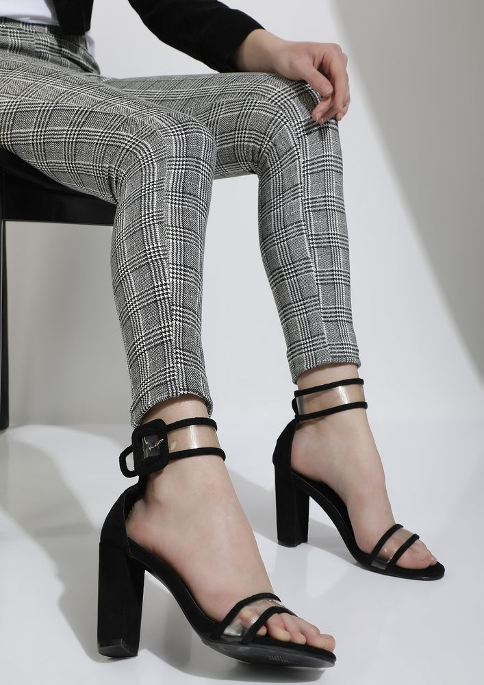 A CLEAR TRAP BLACK HEELED SANDALS
