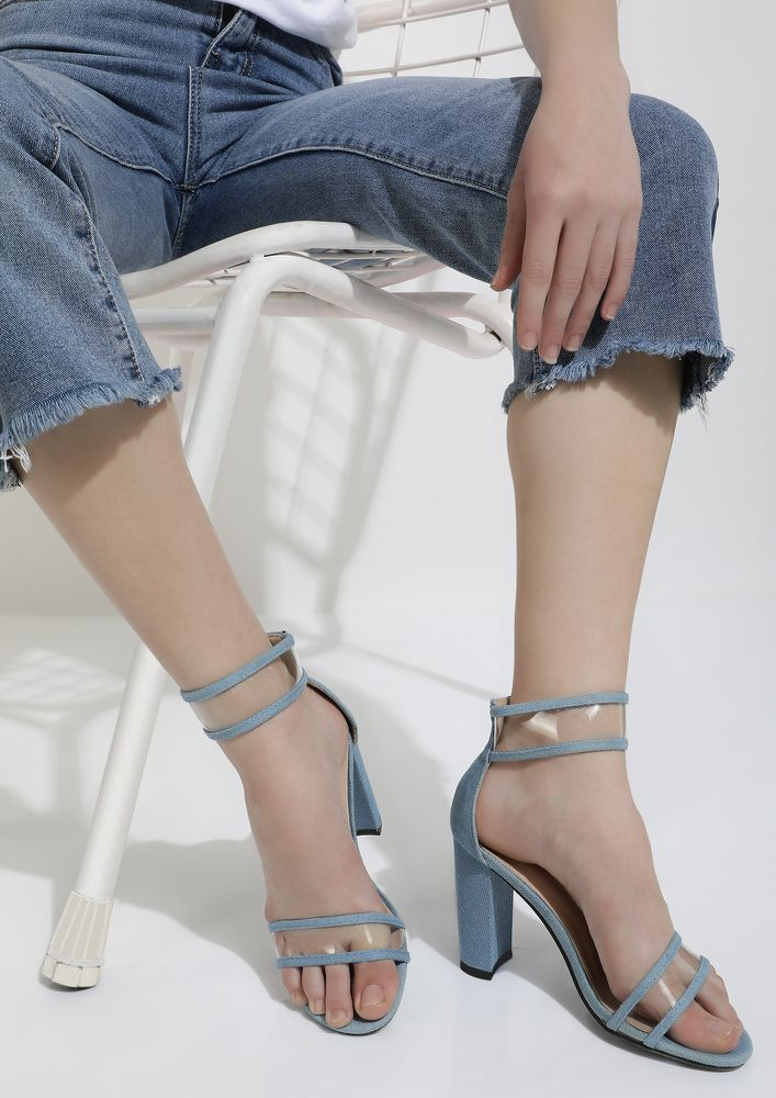 A CLEAR TRAP BLUE HEELED SANDALS
