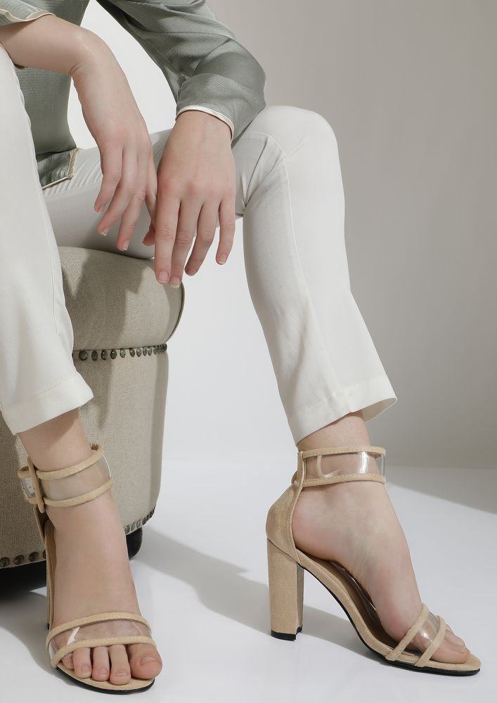 A CLEAR TRAP BROWN HEELED SANDALS