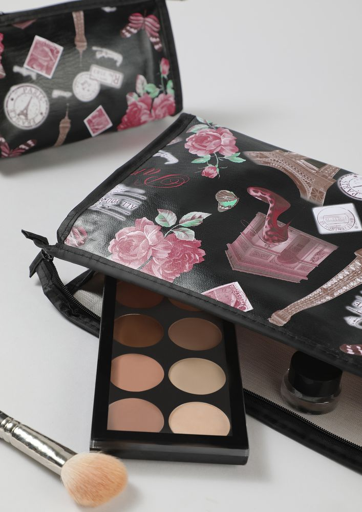 MORE AND MERRY BLACK MAKE-UP POUCH