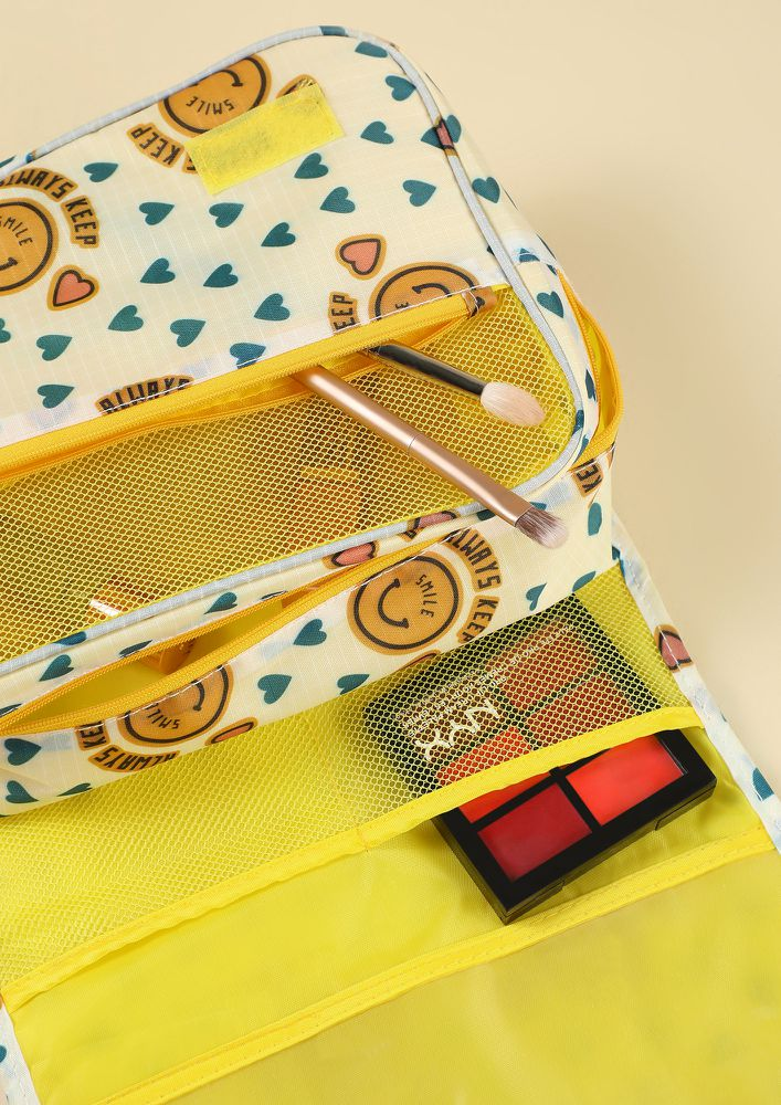 KEEP SMILING YELLOW MAKE-UP POUCH