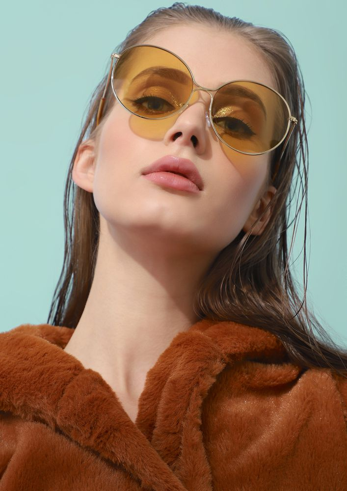 LOVE NOTES GOLDEN AND GREY  ROUND SUNGLASSES