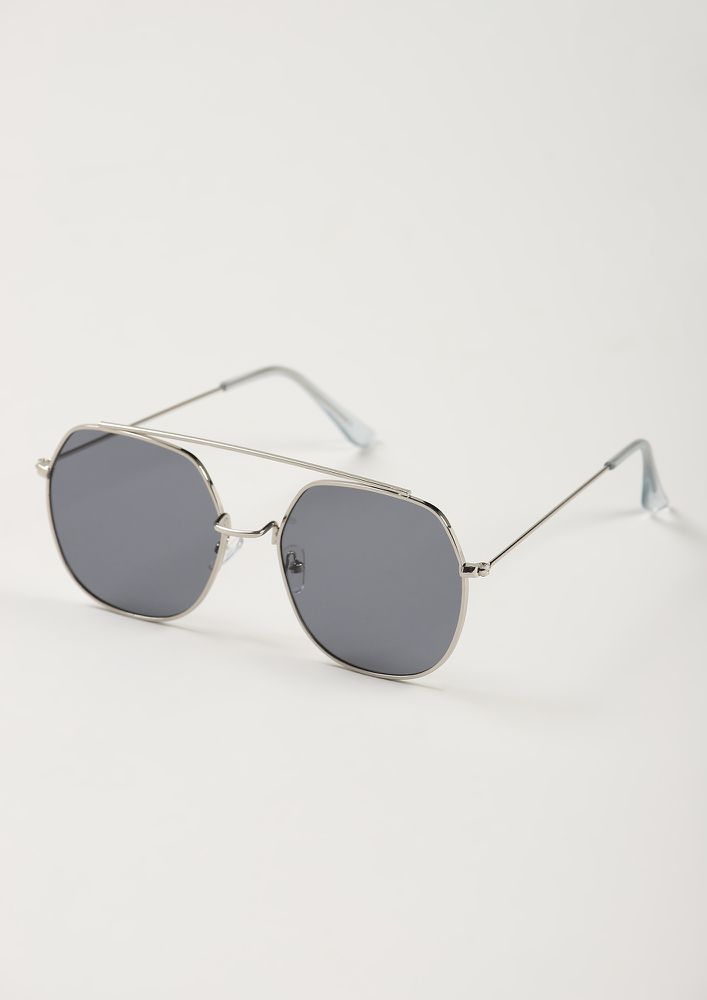 LET LOVE WIN GREY RETRO SUNGLASSES