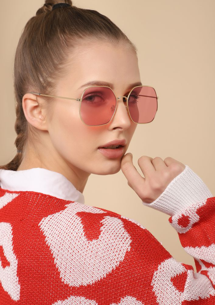 FOR OLD TIMES SAKE PINK RETRO SUNGLASSES
