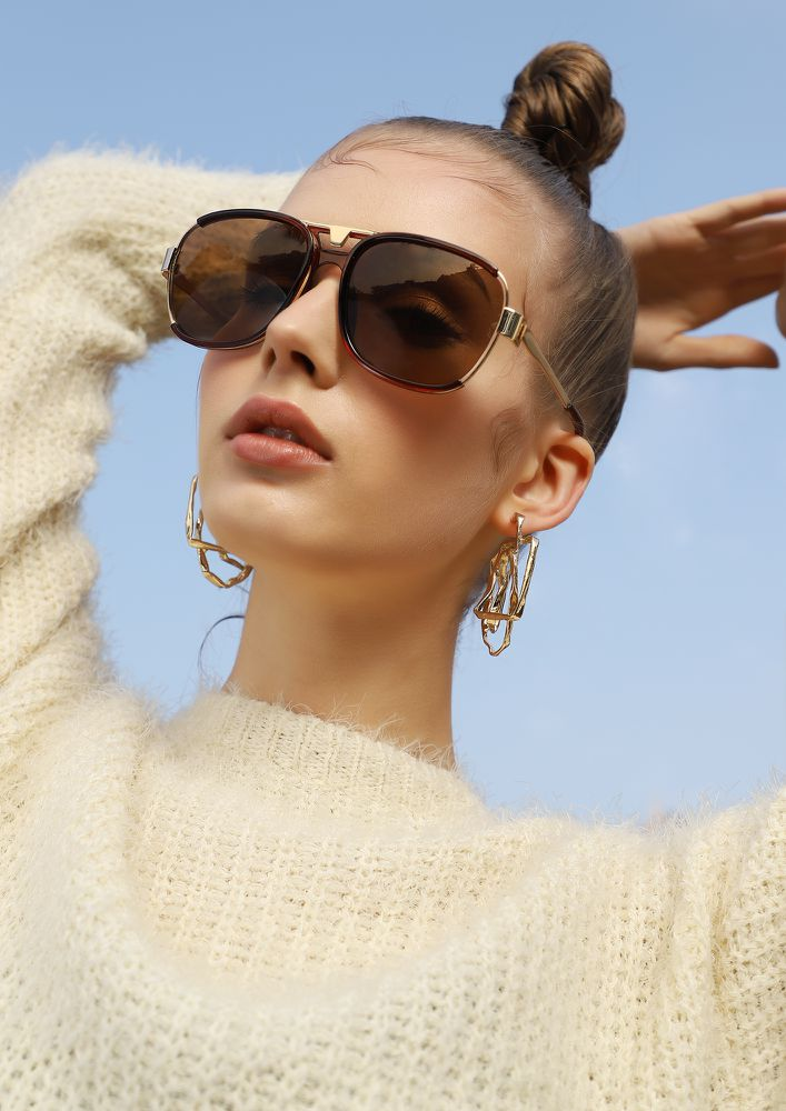 TAKE CHARGE OF LIFE BROWN SQUARE SUNGLASSES