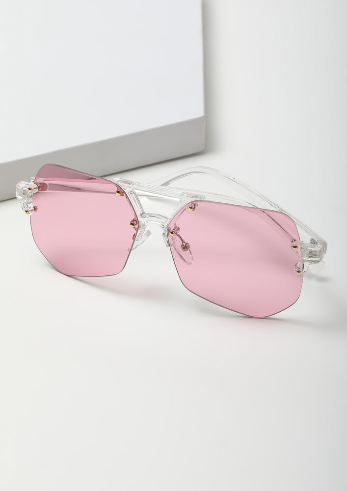 BRIGHT AS DAY PINK RETRO SUNGLASSES