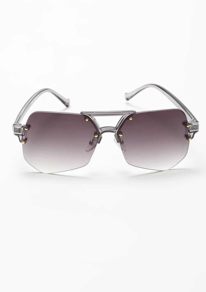 BRIGHT AS DAY GREY RETRO SUNGLASSES