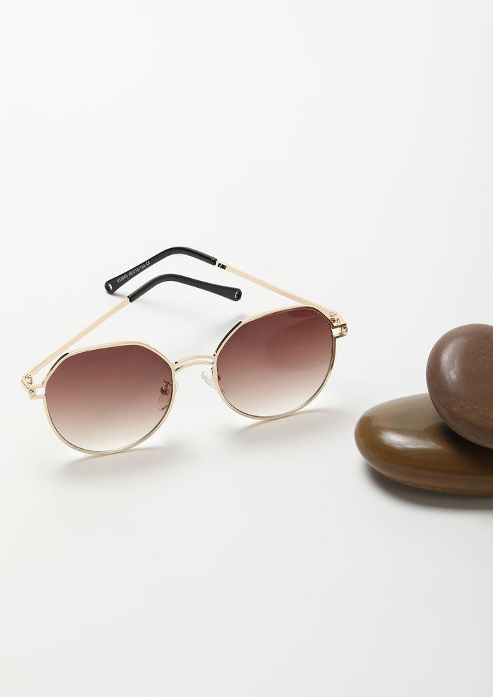 NEVER OUTTA TREND TEA BROWN RETRO SUNGLASSES