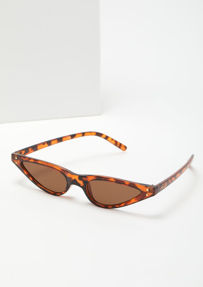 THE FINE FELINE AMBER BROWN CATEYE SUNGLASSES