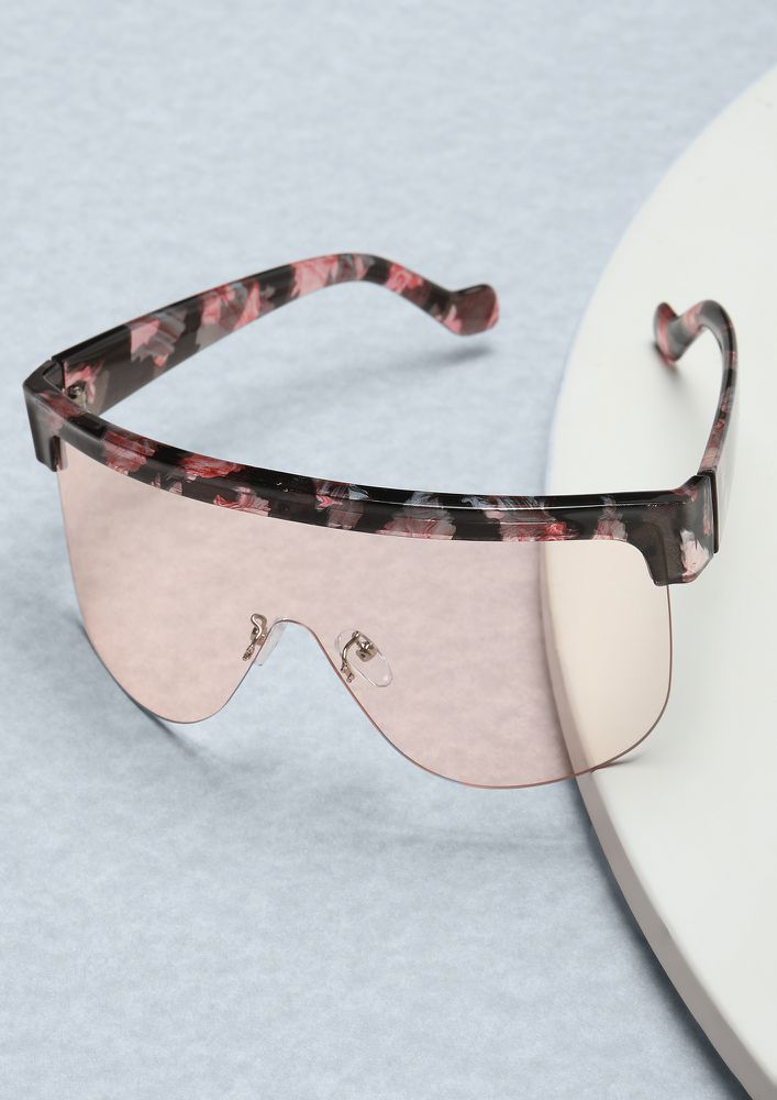 TOWARDS THE FUTURE AMBER BROWN RETRO SUNGLASSES